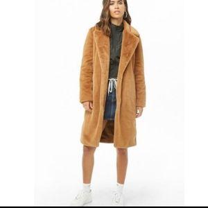 NWT camel teddy bear faux fur open coat
